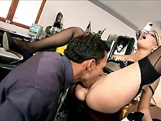 Secretary Donna fucked black seamed stockings