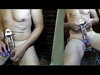 OMG fucking cock machine with big notched rod turn inside DIY
