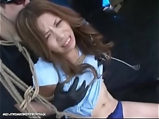 Dangling Submissive Asian Teen In Group BDSM Action