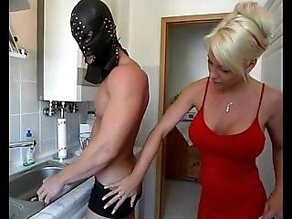 Dominatrix sexy amateur blonde milf having fun in the kitchen