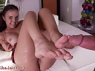 Schoolgirl babe footworshiped