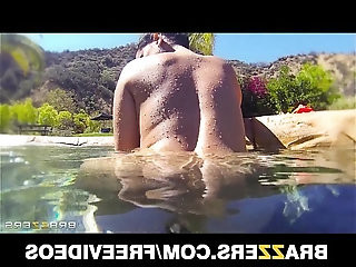 Curvy Latina Diamond Kitty is fucked so hard in her ass in the pool