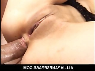 Megumi has her shaved pussy and ass fingered