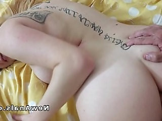 Shaved cunt gets rough anal banged