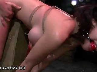 Tied to a post gagged Asian Kimmie Lee fucked from behind