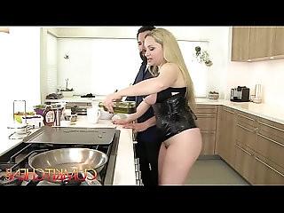 CUM KITCHEN Busty Blonde Aiden Starr Fucks while Cooking in the Kitchen