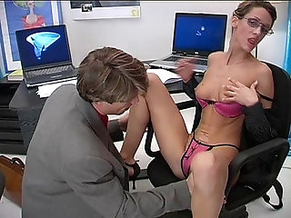 Blonde whore wears glasses and fucked