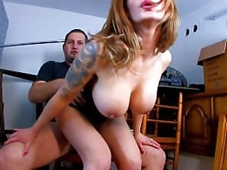 Hot milf with black huge tits gets tied up and brutally fucked in pussy and ass