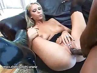 Blond cutie plays with sexy natural tits fuck by BBC
