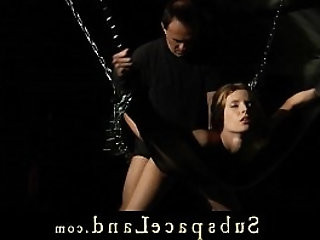 Tied up and dominated slave angel has to submit