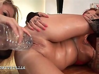 Lesbo kinky bitch gets cunt fisted hard on the floor