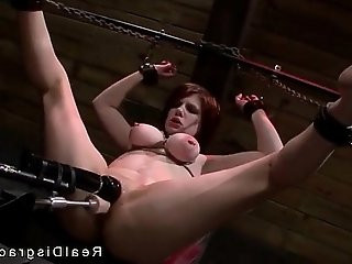 Big tits redhead Velma DeArmond in bdsm with ball in mouth roughly fucked
