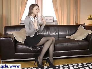 Classy euro beauty rips stockings for fuck