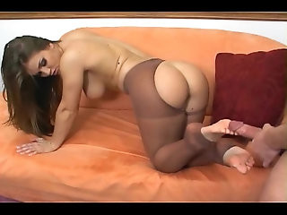 Blonde ripping her pantyhose fetish and anal