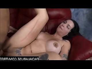 Tattooed brunette endures rough facefucking gets her pussy destroyed