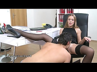 Female agent spreads her legs and gets pussy licked