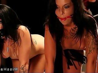 Hot babes in bondage hard flogged by mistress